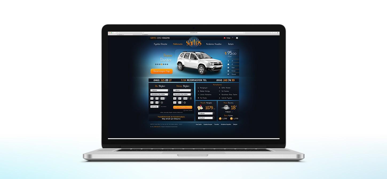 ordinateur avec le web design de la société sartes