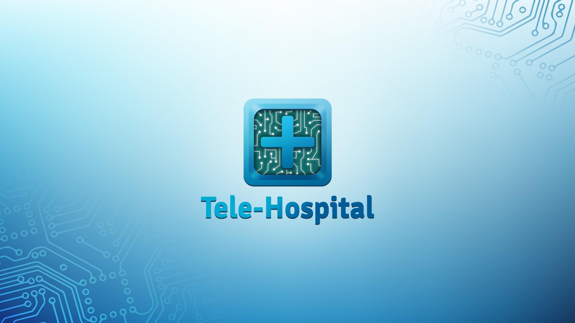 logo tele-hospital sur fond bleu