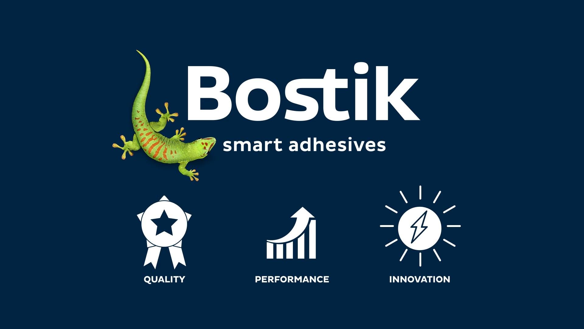 logo bostik et icones qualité performance et innovation