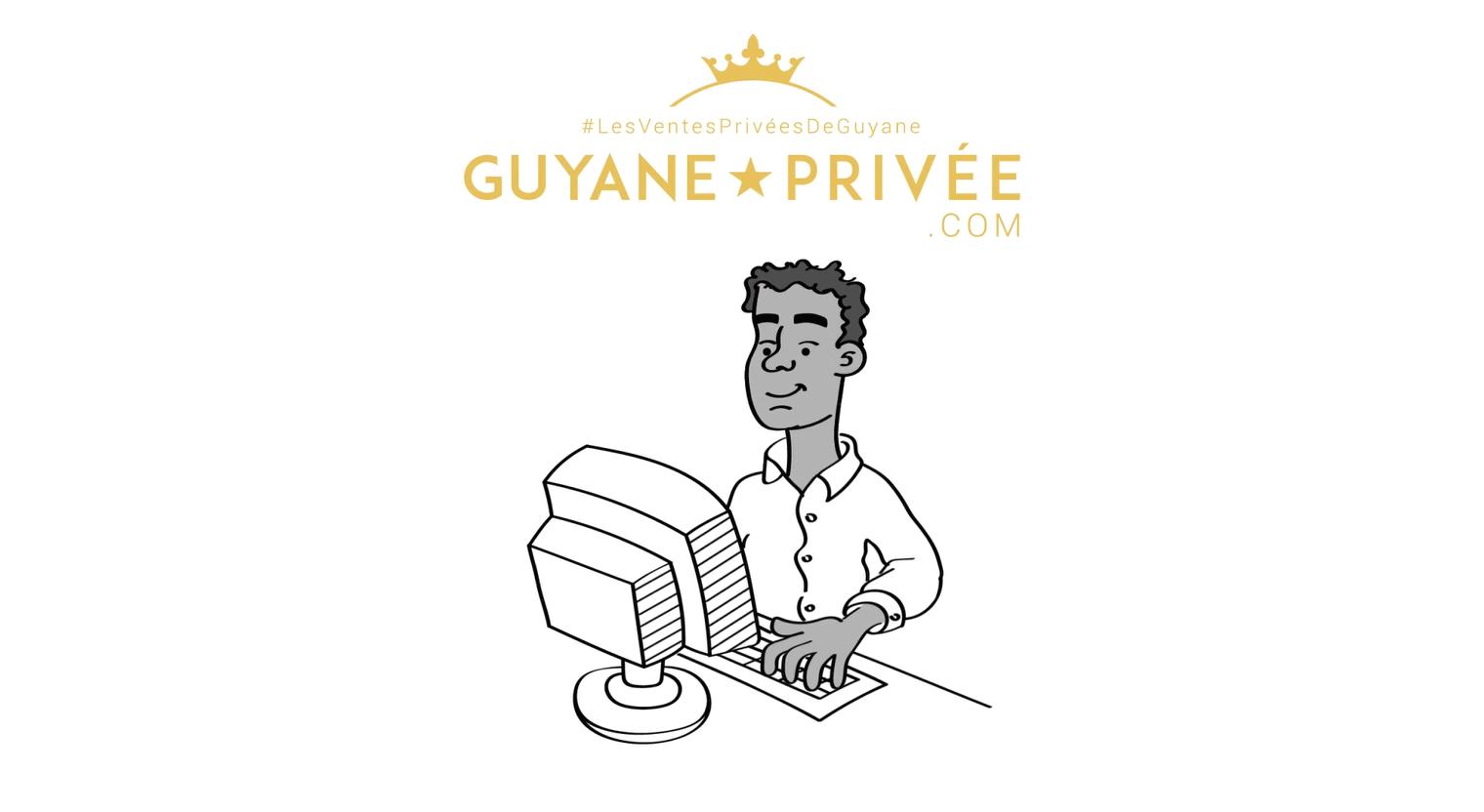 illustration whiteboard guyane privée avec une homme sur l'ordinateur