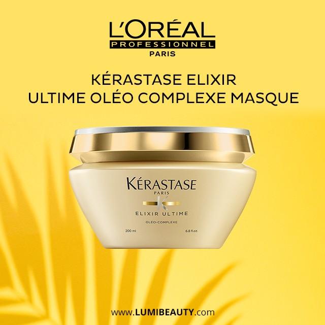 visuel pour lumibeauty produits Kerastase elixir utime oléo complexe masque